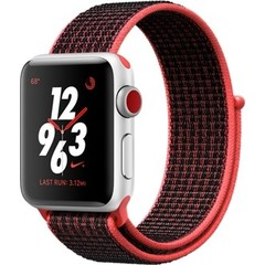 Apple Watch Nike+ Series 3 GPS + Cellular 38mm Silver Aluminum w. Bright Crimson/BlackSport L. (MQL72)