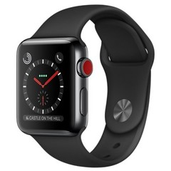 Apple Watch Series 3 GPS + Cellular 38mm Space Black Stainless Steel w. Black Sport B. (MQJW2)