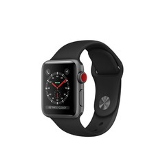 Apple Watch Series 3 (GPS + Cellular) 38mm Space Gray Aluminum w. Black Sport B. (MQJP2)