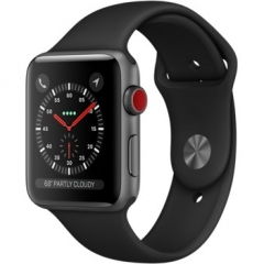 Apple Watch Series 3 GPS + Cellular 42mm Space Gray Aluminum w. Black Sport B. (MQK22)