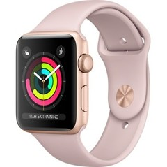 Apple Watch Series 3 (GPS) 42mm Gold Aluminum w. Pink Sand Sport B. - Gold (MQL22)
