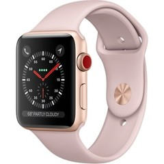 Apple Watch Series 3 (GPS + Cellular) 42mm Gold Aluminum w. Pink Sand Sport B. (MQK32)