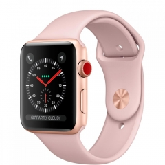 Apple Watch Series 3 GPS + Cellular 38mm Gold Aluminum Case with Pink Sand Sport Band (MQJQ2)