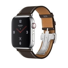 Apple Watch Hermes Series 4 GPS + LTE 44mm Steel Case w. Ebene Barenia Leather Tour Buckle (MU6U2)