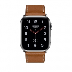 Apple Watch Series 4 Hermes GPS + Cellular 44mm Steel c. w. Fauve Barenia Leather Single Tour (MU6V2)
