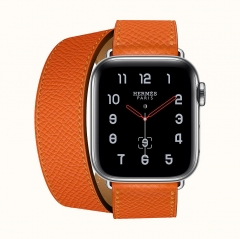 Apple Watch Series 4 Hermès GPS + LTE 40mm Stainless Steel w. Feu Epsom Leather Double Tour (H077069CJ9J)