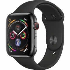 Apple Watch Series 4 GPS + LTE 44mm Black Steel w. Black Sport b. Black Steel (MTV52)