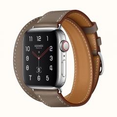 Apple Watch Series 4 Hermes GPS + LTE 40mm Steel Case w. Etoupe Swift (H074200CJ18)