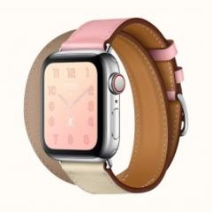 Apple Watch Series 4 Hermes GPS + LTE 40mm Steel Case w. Rose Sakura/Craie/Argile Swift (H078731CJAE)