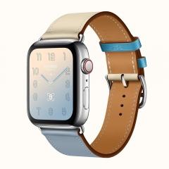 Apple Watch Series 4 Hermes GPS + LTE 44mm Steel Case w. Bleu Lin/Craie/Bleu du Nord Swift (H078728CJAD)