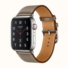 Apple Watch Series 4 Hermes GPS + LTE 44mm Steel Case w. Etoupe Swift (H077059CJ18)