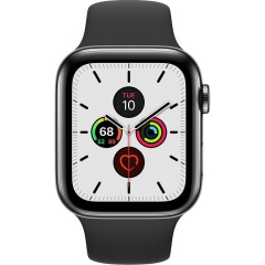 Apple Watch Series 5 LTE 44mm Space Black Steel w. Black b.- Space Black Steel (MWW72)