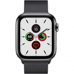 Apple Watch Series 5 LTE 44mm Space Black Steel w. Space Black Milanese Loop - Space Black Steel (MWW82)