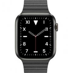 Apple Watch Series 5 GPS + LTE 44mm Space Black Titanium w. Black Leather L. - Medium (MXAA2)