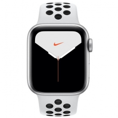 Apple Watch Series 5 GPS + LTE 40mm Silver Aluminium w. Pure Platinum/Black Nike Sport Band (MX372)