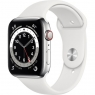Apple Watch Series 6 GPS + Cellular 44mm Silver Stainless Steel Case w. White Sport B. (M07L3/M09D3)