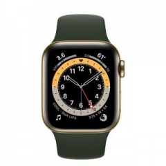 Apple Watch Series 6 GPS + Cellular 44mm Gold Stainless Steel Case w. Cyprus Green Sport B. (M07N3/M09F3)