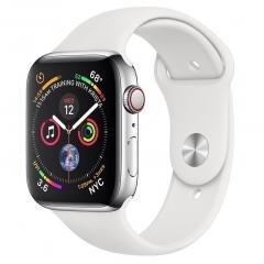 Apple Watch Series 4 GPS + LTE 44mm Steel w. White Sport b. Steel (MTV22)