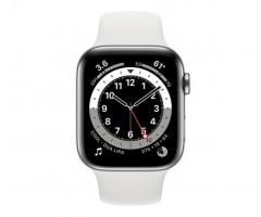 Apple Watch Series 6 GPS + Cellular 40mm Silver Stainless Steel Case w. White Sport B. (M02U3/M06T3)