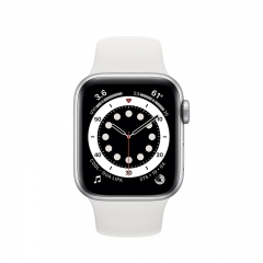 Apple Watch Series 6 GPS + Cellular 40mm Silver Aluminum Case w. White Sport B. (M02N3/M06M3)