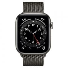 Apple Watch Series 6 GPS + Cellular 44mm Graphite Stainless Steel Case w. Graphite Milanese L. (M07R3/M09J3)