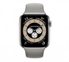 Apple Watch Series 6 GPS + Cellular 44mm Titanium Case with M/L Light Gray Sport Band (M0H23)