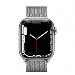 Apple Watch Series 7 GPS + Cellular 45mm Silver Stainless Steel Case with Silver Milanese Loop (MKJE3/MKJW3)