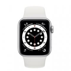 Apple Watch Series 6 GPS 44mm Silver Aluminum Case w. White Sport B. (M00D3)