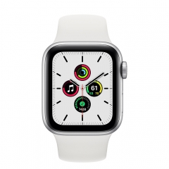 Apple Watch SE GPS 40mm Silver Aluminum Case w. White Sport B. (MYDM2)