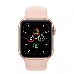 Apple Watch SE GPS 44mm Gold Aluminum Case w. Pink Sand Sport B. (MYDR2)