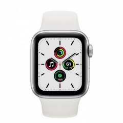 Apple Watch SE GPS + Cellular 40mm Silver Aluminum Case with White Sport B. (MYE82/MYEF2)