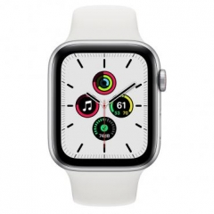 Apple Watch SE GPS + Cellular 44mm Silver Aluminum Case with White Sport B. (MYEM2/MYEV2)