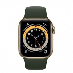 Apple Watch Series 6 GPS + Cellular 40mm Gold Stainless Steel Case w. Cyprus Green Sport B. (M02W3/M06V3)